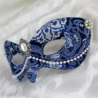 Blue and Silver Brocade Masquerade Mask with Pearl Accents