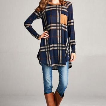 Navy Plaid Top w/Suede