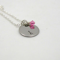 Initial Necklace - Charm Necklace - Tiny Necklace - Delicate Necklace - Personalize Necklace - Thin Necklace - Mother Gift - Silver Necklace
