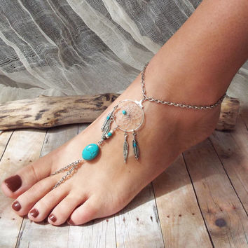 Peace Catcher Turquoise  Bohemian Silver Dreamcatcher Slave Anklet  Hippie  Tribal   Native American Inspired