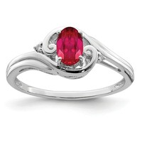 Sterling Silver Oval Genuine Ruby & Diamond Ring