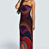 Toni Bandeau Printed Maxi Dress