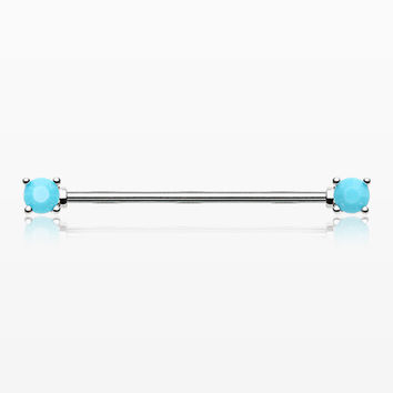 Turquoise Bead Prong Industrial Barbell