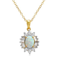 18K Yellow Gold Plated Sterling Silver Created Opal and White Sapphire Pendant-Necklace