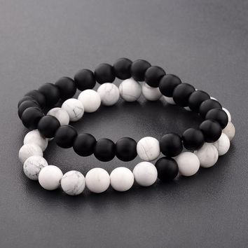 Black & White Stone Love Bracelets