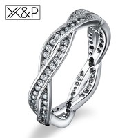 X&P Fashion 925 Sterling Silver Braided Pave Finger Rings for Women Men Clear Authentic Twist Of Fate Stackable Ring Jewelry