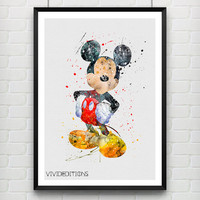 Mickey Mouse Watercolor Art Print, Disney Baby Boy / Girl Nursery Room Poster, Kids Decor Home Decor, Not Framed, Buy 2 Get 1 Free! [No 198]
