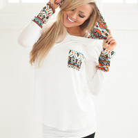 Magnifico Tribal Hoodie in White CLEARANCE