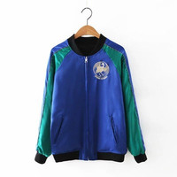 SIMPLE - Fashion Women Mixed Color Loose Outerwear Jacket a13200