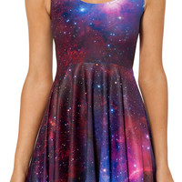Purple Galaxy Fit + Flare Mini Skater Dress
