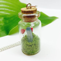 Terrarium Necklace, Crystal Terrarium with Real Moss and Dried Flowers, Glass Bottle Terrarium Jewelry, Silver Toned Chain, Blue Crystal