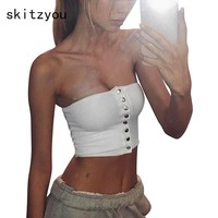 skitzyou Women Summer Elastic White Cotton Tube Top Front Button Backless Black Bodycon Strapless Crop Top Party Tops Cropped