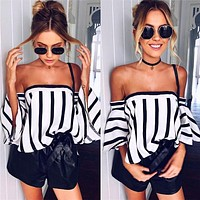 Summer Fashion Off Shoulder Middle Sleeve Pagoda Sleeve Stripe Tops