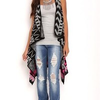 Sleeveless Vest with Aztec Print and Drape Front
