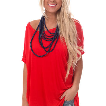 Red Flowy Oversized Tee