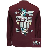 Girlie Girl Originals Preppy Jeepsy Soul 2 Jeep Arrows Long Sleeve Maroon T-Shirt