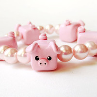 Pink Pig and Glass Pearl Stretchy Bracelet