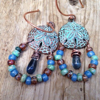Bohemian earrings beaded dangles  cottage chic boho  earrings  gypsy patina beach  by Lyrisgems
