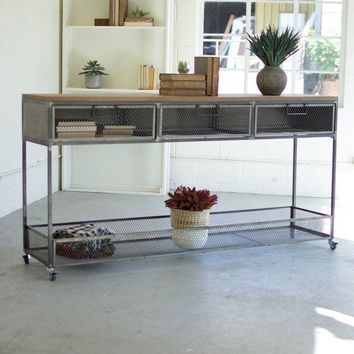 Rolling Metal Console w/ Wire Mesh Drawers & Wood Top