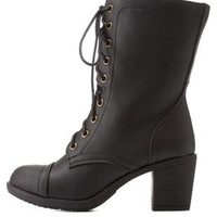 Black Lace-Up Chunky Heel Combat Boots by Charlotte Russe