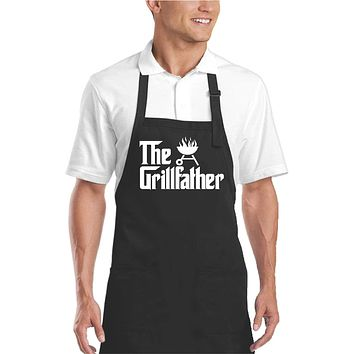 Men's The Grillfather Funny BBQ Apron - Black -Our T Shirt Shack