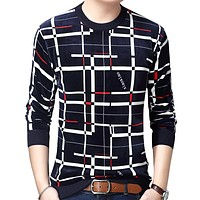 Pullover Plaid Men Sweater Mens Thick Winter Warm Jersey Knitted Sweaters Mens Wear Slim Fit Knitwear