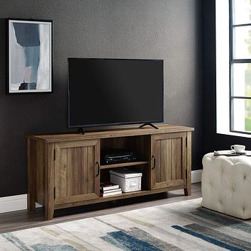 """Walker Edison Furniture Company Modern Farmhouse Grooved Wood Stand with Cabinet Doors for TV's up to 65"""" Living Room Storage Shelves Entertainment Center, 58 Inch, Reclaimed Barnwood 58 Inch TV Stand"""