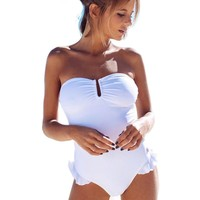 Flounce White One Piece Swimsuit for Girls Lacing Swimming Suit Off Shoulder Swim Wear Bayan Mayo Bikini Bathing Suits