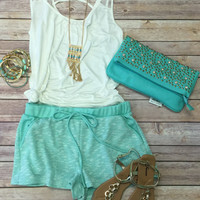 Terry Pocket Shorts: Mint