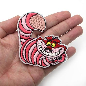 5pcs/lot A0200 Alice in Wonderland cat Iron on Clothing diy Embroidered Sewing Applique Sew On Patches Fabric Apparel Patchwork