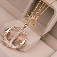 2014 New Fashion Women Lady Alloy Diament Anchor Sweater Chain Necklace Pendant