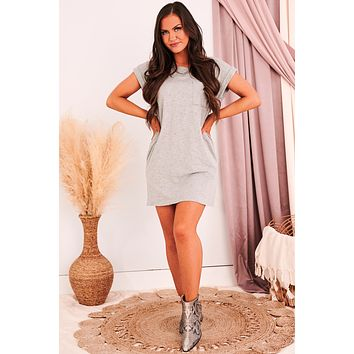 Let Your Guard Down T-Shirt Dress (Heather Grey)