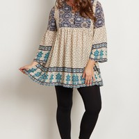 Ivory-Printed-Bell-Sleeve-Plus-Size-Tunic
