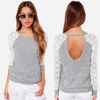 Lace Slim Long Backless Long Sleeve Round Necked T-Shirt _ 8960