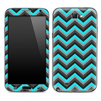 Aqua Blue, Black and Gray Chevron Pattern Skin for the Samsung Galaxy Note 1 or 2
