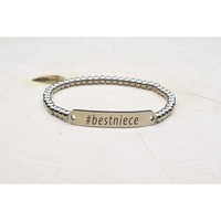Solid Stainless Steel Beaded Hashtag Bracelet - Best Niece