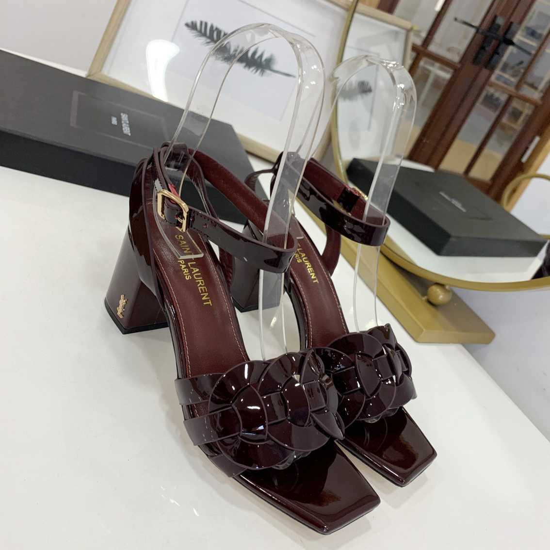 Image of ysl women casual shoes boots fashionable casual leather women heels sandal shoes 84