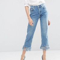 ASOS Authentic Straight Leg Jeans In Oxford Wash with Fringed Hem at asos.com