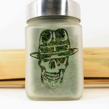 Retro Gangster Skull Etched Glass Stash Jar & Herb Storage - Gangsta Skull Novelty Gift