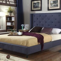 """New Century® Blue Upholstered 51"""" Inches Tall Headboard Platform Bed"""