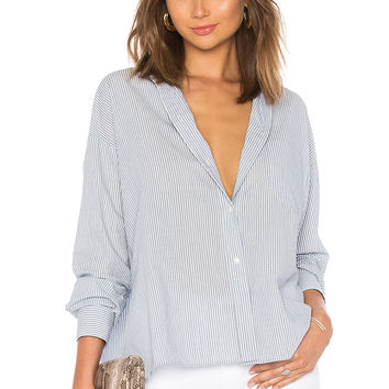 Vince Double Stripe Boxy Shirt in Glass