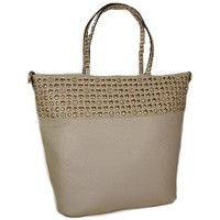 Gold Tone Studded Fashion Tote Bag Purse Silver