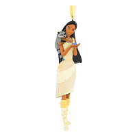 Disney Parks Pocahontas with Meeko 3D Glitter Christmas Ornament New with Tags