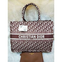 Dior Women Fashion Leather Handbag Tote Satchel Set Two Piece