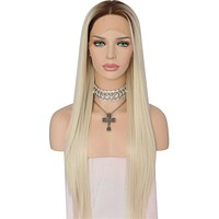 Nayeli- Ombre Brown Roots To Light Blond Heat Resistant Synthetic Front Lace Wig