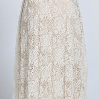 LACE OVERLAY MIDI FLARE SKIRT Plus size