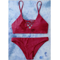 Pure color sexy women red chest hollow straps two piece bikini swimsuit