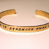 HOPE Is Stronger than FEAR Hunger Games Inspired Hand Stamped and Hammered Bracelet Brass, Copper, Nickel Silver, Sterling Silver