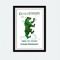 House Mormont watercolor poster Game of Thrones art print Game of Thrones decor Kids room wall art Home decoration Nursery room decor W612