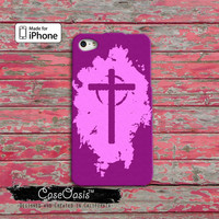 Christian Cross Pink Purple Religion Jesus Custom iPhone 4/4s Case and iPhone 5 and 5s and 5c Case and Wallet Case and iPhone 6 and 6 + Plus